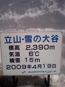 雪の大谷表示板