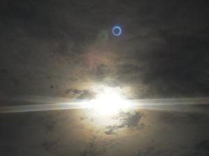 光のカサで金環日蝕を確認